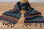 Striped Herringbone Lambswool Scarf in Natural Shades by Foxford Woollen Mills
