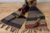 Herringbone Lambswool Scarf with Wide Stripes in Warm Shades by Foxford Woollen Mills