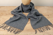 Solid Grey Lambswool Scarf by Foxford Woollen Mills