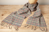Beige Houndstooth Plaid Lambswool Scarf by Foxford Woollen Mills