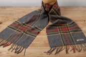 Grey Plaid Lambswool Scarf with Tartan Pattern by Foxford Woollen Mills