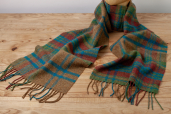 Plaid Lambswool Scarf in Sienna Shades by Foxford Woollen Mills