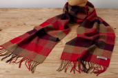 Golden/Red Plaid Lambswool Herringbone Scarf by Foxford Woollen Mills