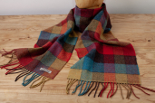 Blue/Red/Yellow Plaid Lambswool Scarf by Foxford Woollen Mills