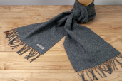 Solid Grey Lambswool Scarf with Thin White Stripes by Foxford Woollen Mills