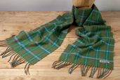 Green/Blue Plaid Lambswool Scarf by Foxford Woollen Mills