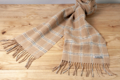 Beige/White Plaid Lambswool Scarf by Foxford Woollen Mills