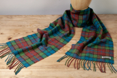 Red/Blue/Green Plaid Lambswool Scarf by Foxford Woollen Mills
