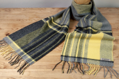 Grey/Yellow Plaid Lambswool Scarf by Foxford Woollen Mills