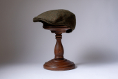 Green Brown Herringbone Magee Tweed Touring Cap by Hanna Hats