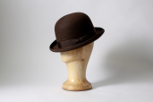 Brown Furfelt Bowler Hat with Silk Lining and Leather Sweatband by Tonak