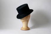 Black English Furfelt Top Hat with Silk Lining and Leather Sweatband by Tonak