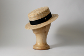 Natural Straw Flat Crown Boater Hat by Tonak
