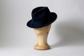 Navy Suede Furfelt Fedora Hat with Medium Brims and Silk Lining by Tonak