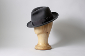Grey Suede Furfelt Fedora Hat with Medium Brims and Silk Lining by Tonak