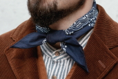 Navy Cotton Bandana with Trad. Paisley Pattern Hav-a-Hank by The Bandanna Company (made in USA)