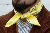Yellow Cotton Bandana with Trad. Paisley Pattern Hav-a-Hank by The Bandanna Company (made in USA)