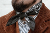 Black Cotton Bandana with Trad. Paisley Pattern Hav-a-Hank by The Bandanna Company (made in USA)