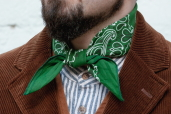 Green Cotton Bandana with Trad. Paisley Pattern Hav-a-Hank by The Bandanna Company (made in USA)