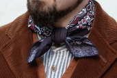 Navy/Red Cotton Bandana with Trad. Paisley Pattern Hav-a-Hank by The Bandanna Company (made in USA)