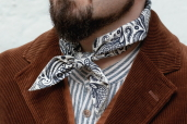 Beige/Navy Cotton Bandana with English Paisley Pattern Hav-a-Hank by The Bandanna Company (made in U