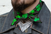 Black Cotton Bandana with Irish Shamrocks Pattern Hav-a-Hank by The Bandanna Company (made in USA)