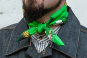 Green Cotton Bandana with Irish Leprechaun Pattern Hav-a-Hank by The Bandanna Company (made in USA)