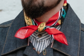 Red Cotton Bandana with Modern Aztec Pattern Hav-a-Hank by The Bandanna Company (made in USA)