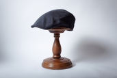 Navy Herringbone Linen Touring Cap by Hanna Hats