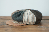 Patchwork Tweed 8-piece Cap with Band by Hanna Hats