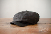 Black Linen Kells 8-piece Cap by Hanna Hats
